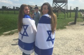 Jewish Girls Draped in Israeli Flags